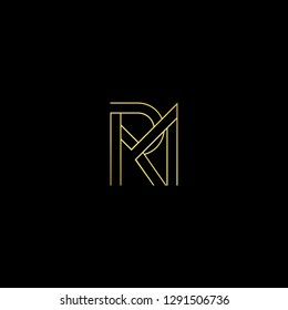 Abstract letter RM MR. Minimal logo design template. Vector letter logo with gold and black color.