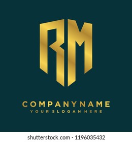 Abstract letter RM shield logo design template