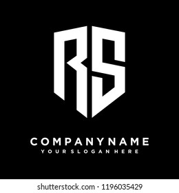 Abstract letter RS shield logo design template
