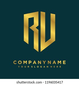 Abstract letter RU shield logo design template