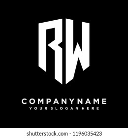Abstract letter RW shield logo design template
