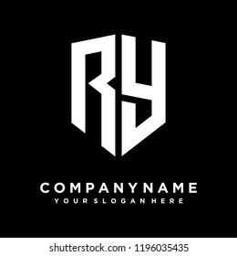 Abstract letter RY shield logo design template