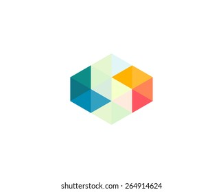 Abstract letter S logo design template. Colorful polygon creative sign. Vector triangle icon.