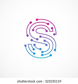 Abstract letter S logo design template,technology,electronics,digital,dot connection cross vector logo icon logotype