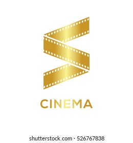 Abstract letter S logo Gold color for videotape film production