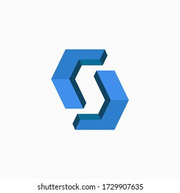Abstract letter S logo in negative space from square shapes.