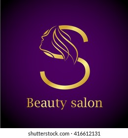 Abstract letter S logo,Gold Beauty salon logo design template