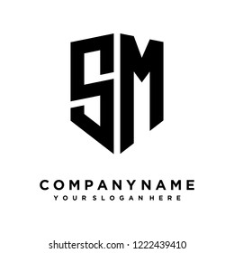 Abstract letter S M shield logo design template