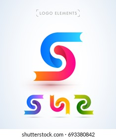 Abstract letter S synergy logo template. Material design style