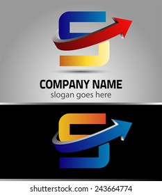 Abstract Letter S vector logo with arrrow symbol