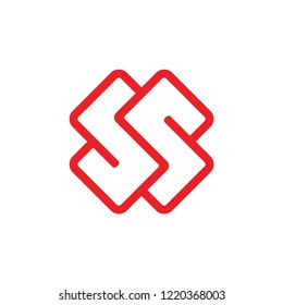 abstract letter ss simple linear logo vector