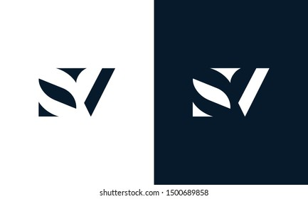 Abstract letter SV logo. This logo icon incorporate with abstract shape in the creative way. It look like letter S and V.