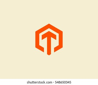 Abstract letter T arrow vector logotype. Line hexagon creative simple logo design template.  Universal geometric symbol font icon.