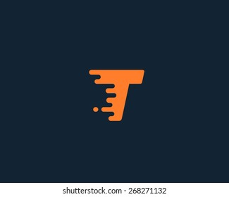 Abstract letter T logo design template.  Dynamic vector unusual font. Universal fast speed fire moving water quick energy drop icon.