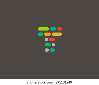 Abstract letter T logo design template.  Dynamic, code vector unusual font. Universal fast moving dots, atoms, blocks, color symbol.