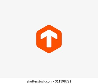 Abstract letter T logo design template. Colorful creative hexagon sign. Universal vector icon.