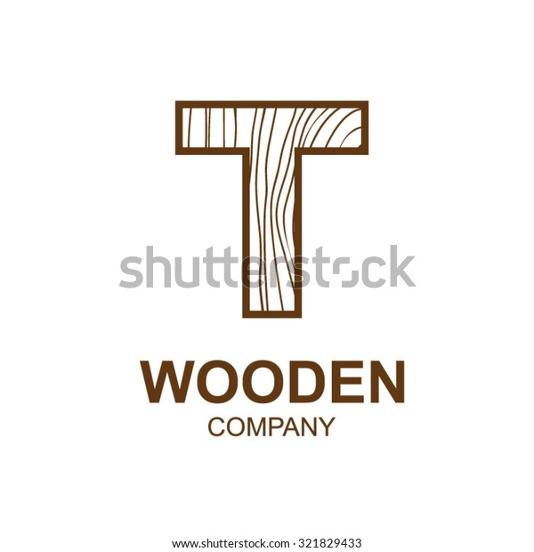 f25425d2 Abstract letter T logo design template with wooden texture,home,Logo design, Vector