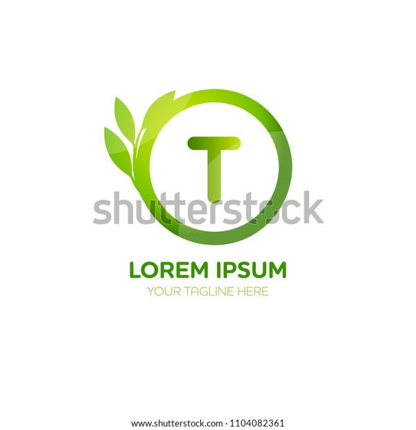 Abstract letter T logo vector design. Icon eco green and circle concept template.