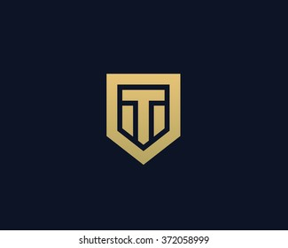 Abstract letter T shield logo design template. Premium nominal monogram business sign. Universal foundation vector icon.