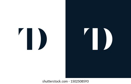 Abstract letter TD logo. This logo icon incorporate with abstract shape in the creative way. It look like letter T and D.
