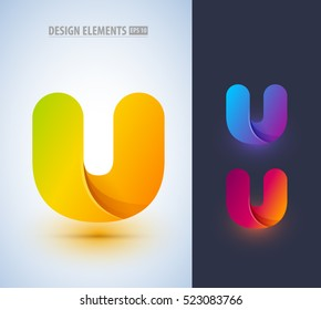 Abstract letter U logo design collection. Can be used for branding, application icon, corporate identity sign.