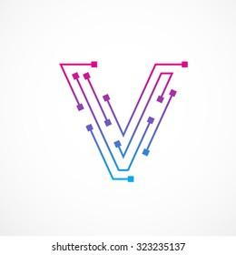 Abstract letter V logo design template,technology,electronics,digital,dot connection cross vector logo icon logotype