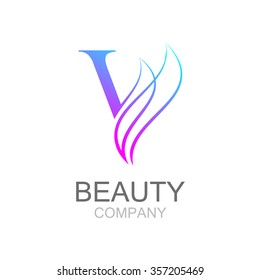 Abstract letter V logo design template with beauty industry and fashion logo.cosmetics business, natural,spa salons. yoga, medicine companies and clinics