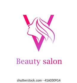 Abstract letter V logo,Beauty salon logo design template