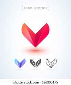 Abstract Letter V Origami Style Logo Template Application Icon