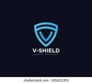 Abstract Letter V Shield Logo Design Template Vector, Letter V Shield Logo Design Element, Letter V Logo, Shield Letter V Logo