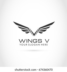 victory wing v letter logo template のベクター画像素材