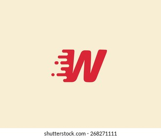 Abstract letter W logo design template.  Dynamic vector unusual font. Universal fast speed fire moving water quick energy drop icon.