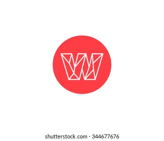 Abstract letter W logo design template. Structure simple line sign. ?ontact, business, medicine, development, mobile app vector symbol icon.