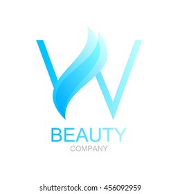 Abstract letter W logo design template with beauty spa salons yoga
