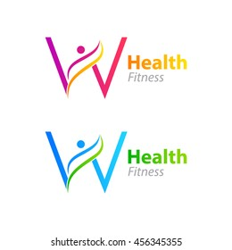 Abstract letter W logo design template with Health Fitness Logo