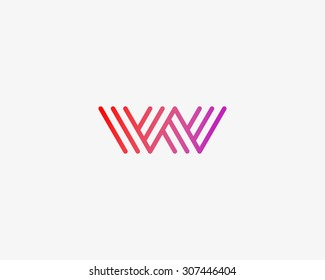 Abstract Letter W M logo design template. Line vector symbol. Premium elegant sign mark icon