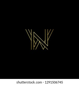 Abstract letter WN NW. Minimal logo design template. Vector letter logo with gold and black color.