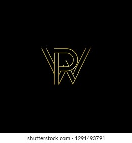 Abstract letter WP PW. Minimal logo design template. Vector letter logo with gold and black color.