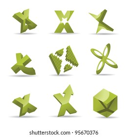 Abstract Letter X alphabet symbol icon set EPS 8 vector, grouped for easy editing. No open shapes or paths.