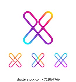 Abstract Letter X Line Monogram Colorful loops logotype, Circle shape, swirl spiral infinity logo symbol, Technology and digital connection