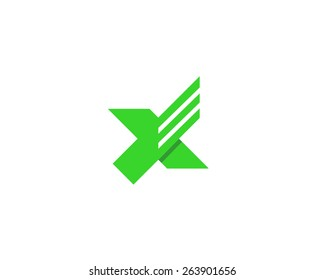 Abstract letter X logo design template. Bird wings creative sign. Dynamic vector icon.