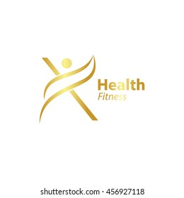Abstract letter X logo design template with Health Fitness Logo gold