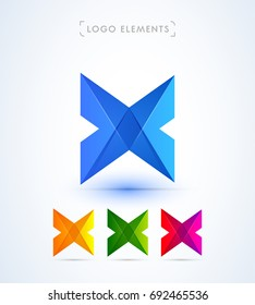 Abstract letter X logo template. Material design style