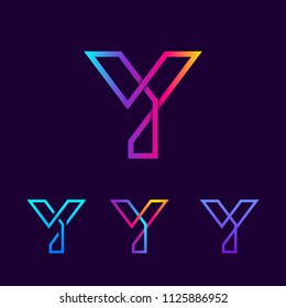 Abstract Letter Y Line Monogram Colorful loops logotype, Square shape, swirl spiral infinity logo symbol, Technology and digital connection