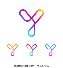 Abstract Letter Y Line Monogram Colorful loops logotype, Circle shape, swirl spiral infinity logo symbol, Technology and digital connection