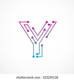 Abstract letter Y logo design template,technology,electronics,digital,dot connection cross vector logo icon logotype