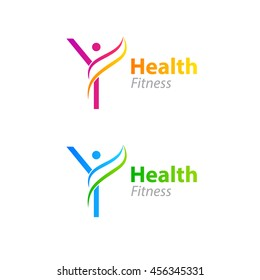 Abstract letter Y logo design template with Health Fitness Logo