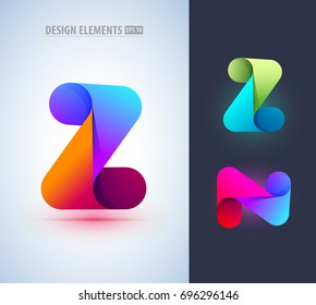 Abstract letter Z and N icon in material design style