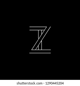 Abstract letter ZI IZ. Minimal logo design template. Vector letter logo with white and black color.