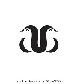 abstract letters ab. penguin symbol logo